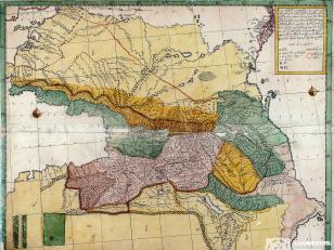 """ვახუშტის რუკა <br> კავკასიის რუკა <br> Atlas of Vakhushti <br> The Caucasus map <br>  """"რუკა მოხაზული საქართველოსი, ანუ ივერიისა, ანუ გიორგიისა, ახალს პოვნილს მენაკთა ზედა უფლისა ფელეს მიერსა, ორთა კასპიისა და შავს ზღვას შორისი, რომელი წილად ხვდათ რვათა ძმათა, და მჩენარებს თვითვეულად ქართლოსისა, ეგროსისა, ბარდოსისა, მოვაკანისა, ჰეროსისა, ლეკოსისა და კავკასოსი. ხოლო ჰავოსისა არა სად მჩენარებს. ხოლო შვიდთა ძმათა წილი თვისითა მთითა, მდინარითა, ტბითა და საზღვრითა და საჩინოთა ადგილითა, ჩემ მიერ მეფის შვილი ვახუშტი""""."""