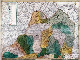 """ვახუშტის ატლასი <br>ქართლის რუკა (მტკვრის ჩრდილოეთით) <br> Atlas of Vakhushti <br>The map of Kartli (to the North of Mtkvari) <br> """"რუკა ქართლისა მტკვრის ჩდილოეთისა, რომელსა შინა მჩენარებს ჴეობანი და სადროშონი ორნი მუხრანისა და ზემო ქართლისა ახალს პოვნილს უფლის ფელეს მენაკთა ზედა. ჩემ მიერ მეფის შვილის ვახუშტისაგან""""."""
