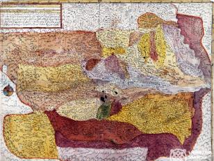 """ვახუშტის ატლასი <br> ხუნანისა და სამშვილდის საერისთავოები <br> Atlas of Vakhushti <br> The map of duchies of Khunani and Samshvilde <br> """"ქარტა ანუ რუკა ძველათ ორის საერისთოსი - ხუნანისა და სამშვილდისა, ხოლო აწინდელს ჟამსა შინა პირველი სასპასპეტო მეწინავე, რომელსა უწოდებენ სომხით საბარათიანოსასა, მოხაზული სხვათა ქართატაგან უუმჯობესათ ჴეობა-ჴეობად და ადგილად-ადგილათ, რომელსა აქუს აღმოსავლით კახეთი და ყაზახი, სამხრით ერევანი, დასავლით ჯავახეთი და ჩდილოთ ქართლი. ხოლო ნიშნი იუწყე ვითარცა სხვათა რუკათა შინანი""""."""