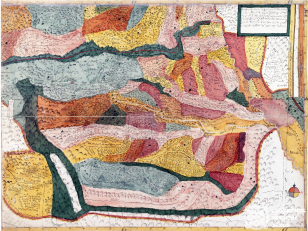 """ვახუშტის ატლასი <br> სომხით-საბარათიანოსა და საციციანოს რუკა <br> Atlas of Vakhushti <br> The map of Somkhit-Sabaratiano and Satsitsiano <br> """"ქარტა ანუ რუკა საბარათიანო-სომხითისანი და საციციანოსი, ხეობა ალაგებად დახაზულ და ფერებულნი. ხოლო მთა რომელ მწვანით არს უტყეო უსოფლობითა არიან და მათ შინა მთა თეთრი თოვლიანი მთა არს, ხოლო ნიშნი ამისნი ვითარცა სხვა ქარტებთა შინა ეგრეთვე ამისნიცა""""."""