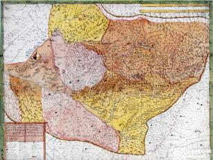 """ვახუშტის ატლასი <br> იმერეთის რუკა <br> Atlas of Vakhushti <br> The map of Imereti <br> """"რუკა იმერეთისა, რომელსა ზედა მჩენარებს არგვეთი, რაჭა, ლეჩხუმი, ოკრიბა, ვაკე, საჯავახო, საჩინო და საჩხეიძო. ახლად დახაზული ფელესის მენაკსა ზედა, თვისის მდინარითა, მთითა, ქალაქითა, ეკლესიით, მონასტრით, დაბნებითა და ციხეებითა""""."""
