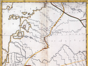 """ვახუშტის ატლასი <br> ოდიშის რუკა Atlas of Vakhushti <br> The map of Odishi  """"ქარტა ანუ რუკა ოდიშისა ეგურის წყლის დასავლეთის კერძოსი ზღვამდე. და შავი ზღვა აზავამდე, მისი შემდინარე მდინარენი ყუბანი და სხვანი და ქვეყანა ოდიში, აფხაზეთი და ჯიქეთი და კავკას იქითი ძველად ოსეთი და აწ ჩერქეზი და ყუბანი და ზღვის კიდე ძველად პაჭანიქი არ სხვისა სახელის მქონებელი""""."""