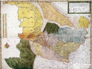 """ვახუშტის ატლასი.  <br> აფხაზეთის რუკა <br> Atlas of Vakhushti. <br> The map of Abkhazia <br> """"ქარტა ანუ რუკა აფხაზეთისა, რომელი განიყოფის იმერეთად, ოდიშად და გურიად, ხოლო იმერეთი განიყოფის არგვეთად, რაჭად, ლეჩხუმად, ვაკედ, ოკრიბად, საჩინოდ და საჩხეიძოდ, სვანნი მჩენარებენ მთით, წყლით, ეკლესია მონასტრით, ციხით და დაბნებით. ახალი დახაზული ფელესს მენაკსა ზედა""""."""