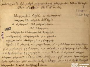 ქართველთა შორის წერა-კითხვის გამავრცელებელი საზოგადოების პირველი ანგარიში საზოგადოების წევრებსა და მმართველობის შესახებ. საზოგადოებაში ირიცხება 245 წევრი; 122 დამფუძნებელი და 123 ნამდვილი. მმართველობას შეადგენენ (13 წევრი) - თავჯდომარე დ. ყიფიანი; თავჯდომარის ამხანაგი კნიაზი ილია ჭავჭავაძე. წევრნი: ნ.ზ. ცხვედაძე; ი.ს. გოგებაშვილი; კნიაზი ი.გ მაჩაბელი; ა.ი. სარაჯიშვილი; კნიაზი რ.დ. ერისთავი; გ.ე. წერეთელი; თ. დ. ჟორდანია; ი.ე. გამყრელიძე; კნიაზი გ. მ. თუმანოვი; ი.მ. მეუნარგია და გ.კ. უთურგაური. საზოგადოების წევრობის კანდიდატები არიან: ნ.დ ქანანოვი და დ.ი. ავალოვი. <br> 1879 წლის 15 მაისიდან 1880 წლის 15 მაისამდე. <br> The first report of the Society for Spreading Literacy among Georgians on society members and the governance. There are 245 members in the society; 122 founders and 123 real. The government consists of (13 members) - Chairman D. Kipiani; Kniaz Ilia Chavchavadze, comrade of the chairman. Members: N.Z. Tskhvedadze; I.S. Gogebashvili; Kniaz I.G. Machabeli; A.I. Sarajishvili; Kniazi R.D. Eristavi; G.E. Tsereteli; T. D. Jordan; I.E. Gamkrelidze; Kniazi G.M. Tumanov; I.M. Meunargia and G.K. Uturgauri. Candidates for becoming society members are: N.D. Kananov and D. I. Avalov.  <br> May 15, 1879 to May 15, 1880.