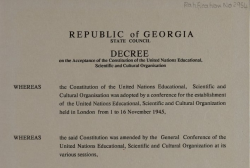 The National Archives of Georgia has Received a Copy of the Ratification Document of UNESCO Constitution