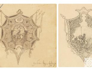 საქართველოს რესპუბლიკის გერბის ერთ-ერთი ვერსიის ესკიზი. <br> მხატვარი: ვანო ხოჯაბეგოვი. <br> The sketch of one of the versions of the coat of arms of the Republic of Georgia <br>  Artist: Vano Khojabegov.