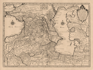 Map of the nearby Countries of the Caspian Sea 1723. Author: Guillaume Delisle