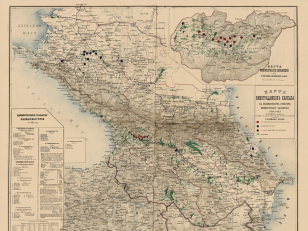 Map of the Caucasus vineyard with designation points of grape phylloxera, 1889.