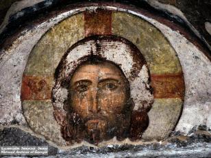 მაცხოვრის ხელთუქმნელი ხატი, ვარძია, ღვთისმშობლის მიძინების ტაძარი, XII საუკუნე <br>Jesus Christ not made hands, Vardzia, church of Dormition, XII century