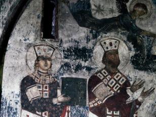 მეფე გიორგი III და მეფე თამარი, ვარძია, ღვთისმშობლის მიძინების ტაძარი, XII საუკუნე<br>King Giorgi III and King Tamar, Varzia, church of Dormition, XII century