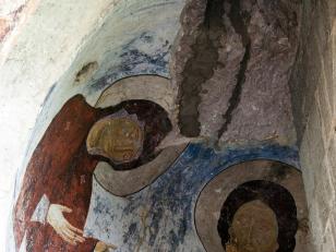 ვედრების სცენა, ვარძია, ღვთისმშობლის მიძინების ტაძარი, XII საუკუნე <br> Supplication, Vardzia, church of Dormition, XII century