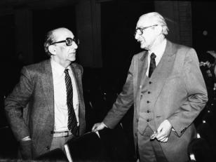 რეჟისორები: მიხეილ თუმანიშვილი (მარჯვნივ) და  მიხეილ ტოვსტონოგოვი. 1980-იანი წლები