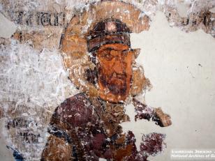 სუმბატ ძე აშოტისი, მოხატულობის ქტიტორი, ფრაგმენტი, დასავლეთის აფსიდის ჩრდილო კალთა, XI საუკუნე<br>Sumbat son of Ashot, ktitor of painting, fragment. North Slope of the west apse, 9th century
