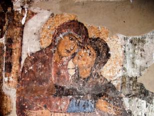 მარიამისა და ელისაბედის შეხვედრა, სამხრეთ აფსიდი, XI საუკუნე<br>Meeting of Mariam and Elizabeth. South apse, 11th century