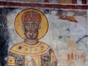 დავით აღმაშენებელი, ფრესკა, ძველი მხატვრობის მიხედვით აღდგენილი XVI საუკუნეში; ღვთისმშობლის ტაძრის ჩრდილოეთ კედელი<br>David the Builder's fresco on the north wall of the Church of Assumption. The Fresco was renovated in the 14th century
