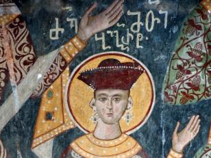 მეფის ძე ბაგრატ, გიორგი II-ისა და დედოფალ რუსუდანის ძე, ღვთისმშობლის ტაძრის ჩრდილოეთ კედელი, XVII საუკუნე<br>The Fresco of prince Bagrat, son of Giorgi II and Queen Rusudan. the north wall of the Church of Assumption. 17th century