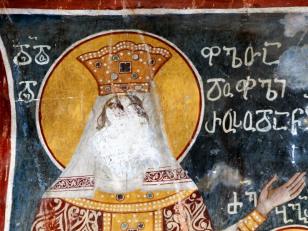 დედოფალთდედოფალი რუსუდანი, ღვთისმშობლის ტაძრის ჩრდილოეთ კედელი, XVII საუკუნე<br>Queen Rusudan's Fresco, the north wall of the Church of Assumption. 17th century