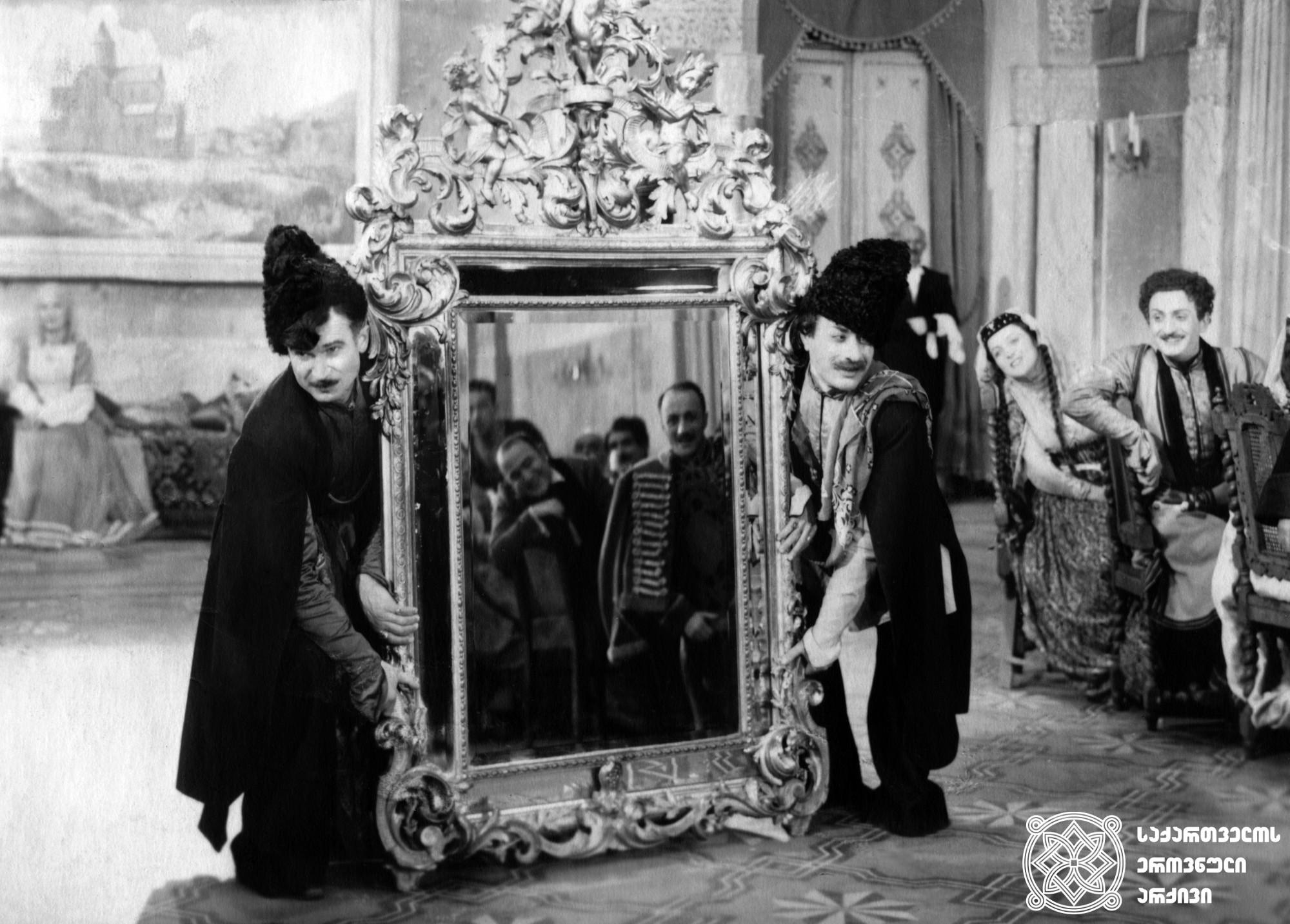 """მხატვრული ფილმი """"ქეთო და კოტე"""", მსახიობები: გიორგი შავგულიძე და ვასო გოძიაშვილი. <br> რეჟისორები: ვახტანგ ტაბლიაშვილი და შალვა გედევანიშვილი. <br> 1948.  <br>  Feature film """"Keto and Kote"""", Actors: Giorgi Shavgulidze and Vaso Godziashvili. <br> Directors: Vakhtang Tabliashvili and Shalva Gedevanishvili. <br>  1948"""
