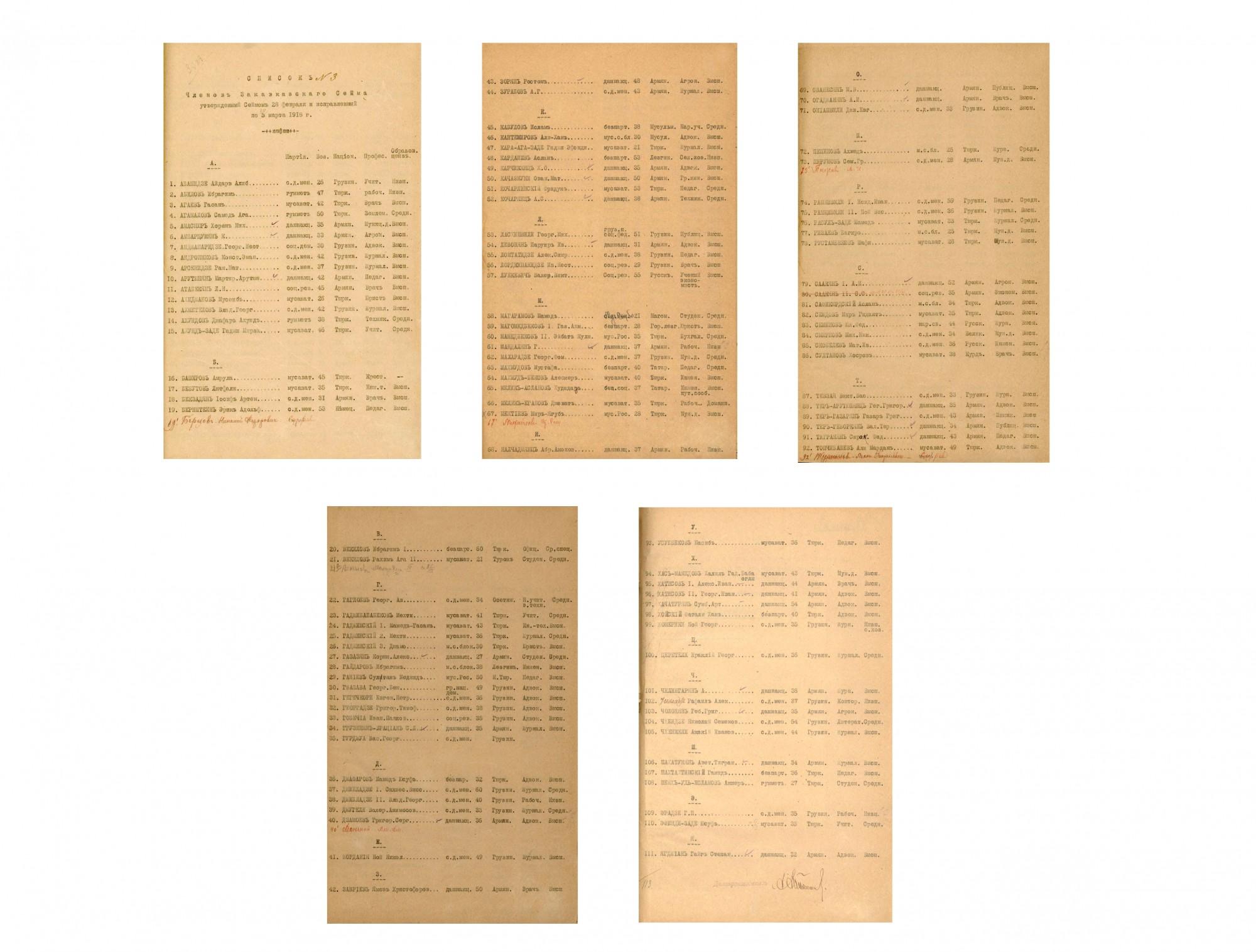 ამიერკავკასიის სეიმის წევრთა სია პარტიის, ასაკის, ეროვნების, პროფესიისა და განათლების მითითებით. <br> 1918 წელი. <br> List of the members of Transcaucasian Sejm, noting the party, age, nationality, profession and education. <br> 1918.