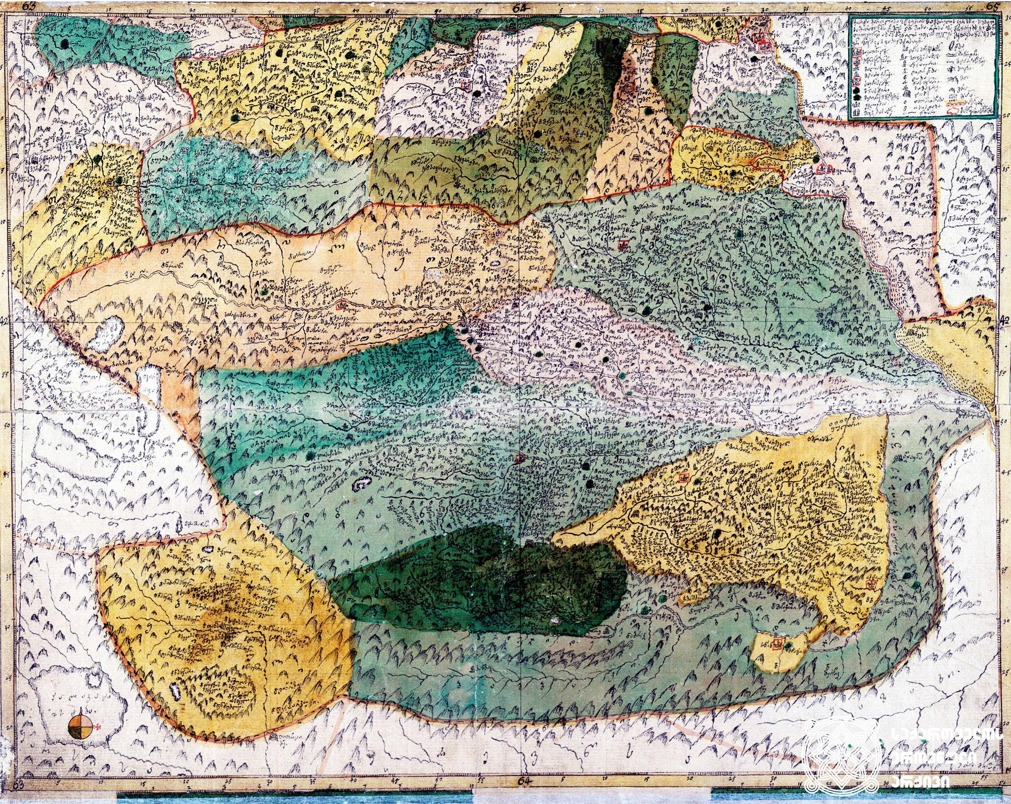 """ვახუშტის ატლასი <br> ქართლის რუკა (მტკვრის სამხრეთით) <br> Atlas of Vakhushti <br> The map of Kartli (to the South of Mtkvari) <br> """"ქარტა ქართლისა მტკვრის სამხრეთის კერძოსი. სომხით-საბარათიანოსი და მეფის დროშისა, რომელსა შინა მჩენარებს ჴეობანი თვითვეულად ახალს პოვნილს უფლის ფელეს მენაკსა ზედა. ჩემ მიერ მეფი შვილი ვახუშტისაგან""""."""