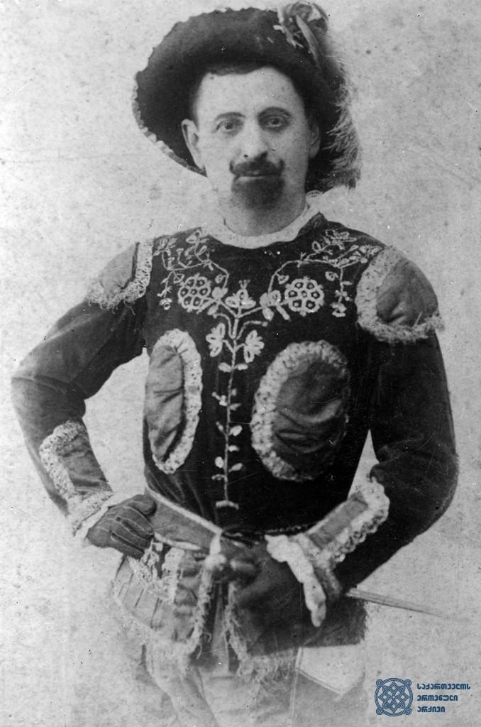 """სპექტაკლი """"დონ ჟუანი"""",  დონ ჟუანი – ვასო აბაშიძე.<br>  1879-1880 წლები.<br> The performance """"Don Juan"""", Vaso Abashidze as Don Juan.<br> 1879-1880."""