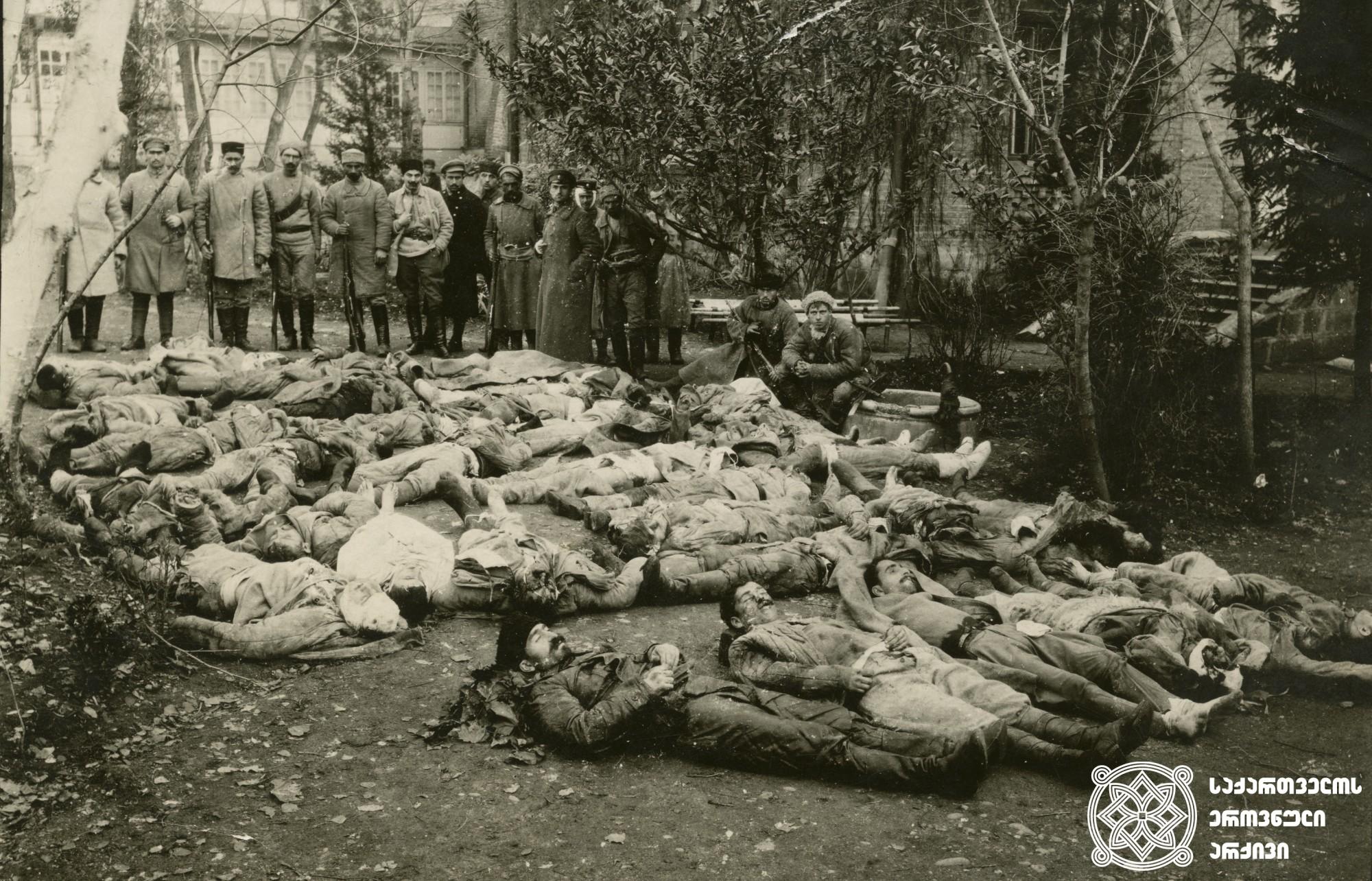 რუსეთ-საქართველოს 1921 წლის ომში დაღუპული სახალხო გვარდიელები.  <br> თბილისი, 1921 წლის თებერვლის ბოლო. <br> People's guardsmen perished in Russian-Georgian War of 1921.  <br> Tbilisi, End of February 1921.