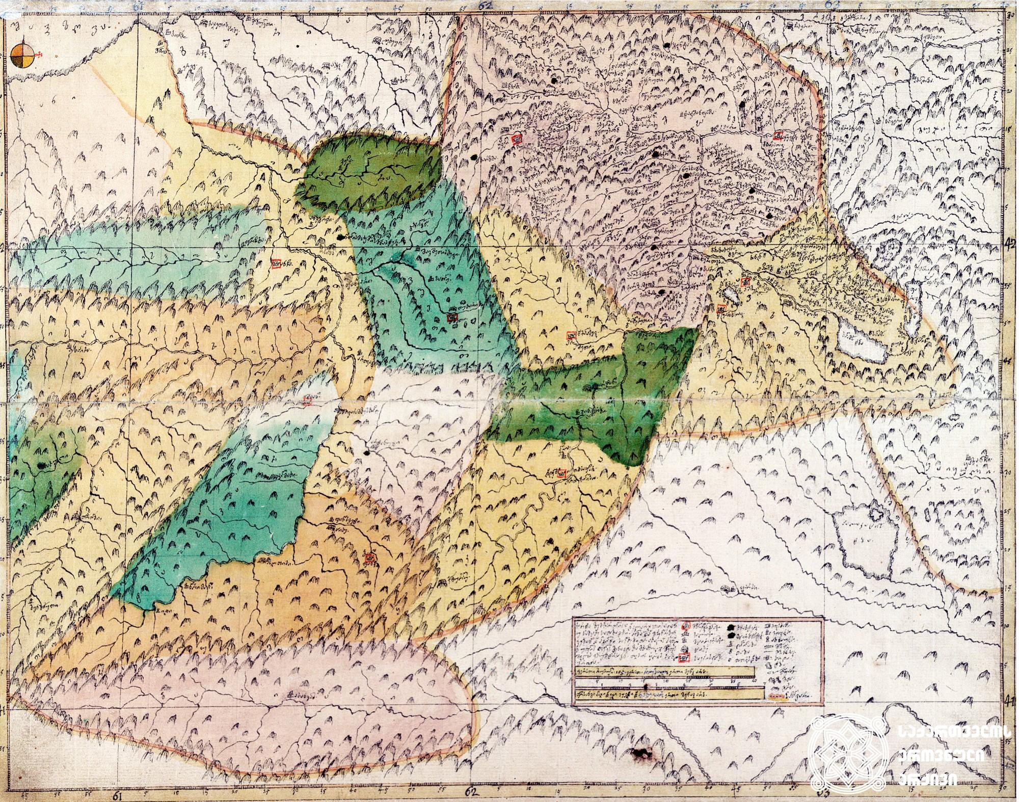 """ვახუშტის ატლასი <br> ზემო ქართლისა და კლარჯეთის რუკა <br> Atlas of Vakhushti <br> The map of Upper Kartli and Klarjeti <br> """"ქარტა ზემო ქართლისა და კლარჯეთისა ანუ სამცხე-საათაბაგოსი, რომელსა შინა მჩენარებენ ჴეობანი და ადგილნი სანახებითა. ახალს პოვნილს უფლის ფელეს მენაკთა ზედა. მოხაზული მეფის შვილის ვახუშტისგან თვისის ყოვლის საზღვრითა""""."""