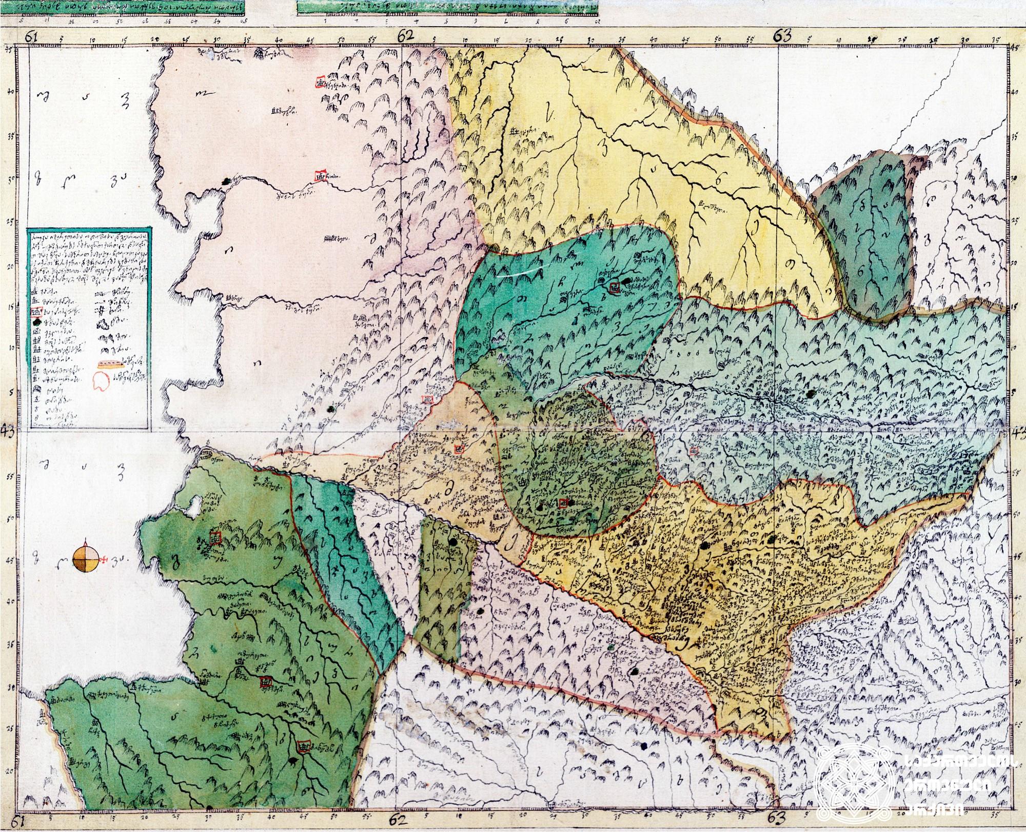 """ვახუშტის ატლასი <br> იმერეთის, ოდიშისა და გურიის რუკა <br> Atlas of Vakhushti <br> The map Imereti, Odishi, Guria <br> """"რუკა იმერეთისა, ოდიშისა და გურიისა, რომელს უმდებარებს აღმოსავლით ქართლი, დასავლით შავი ზღვა, სამჴრით სამცხე, ჩდილოთ კავკასს იქით ჩერქეზი და მჩენარებს ჴეობანი და ადგილნი სვანეთით, ახალს ფელეს პოვნილს მენაკსა ზედა. დახაზული მეფის შვილის ვახუტისაგან""""."""