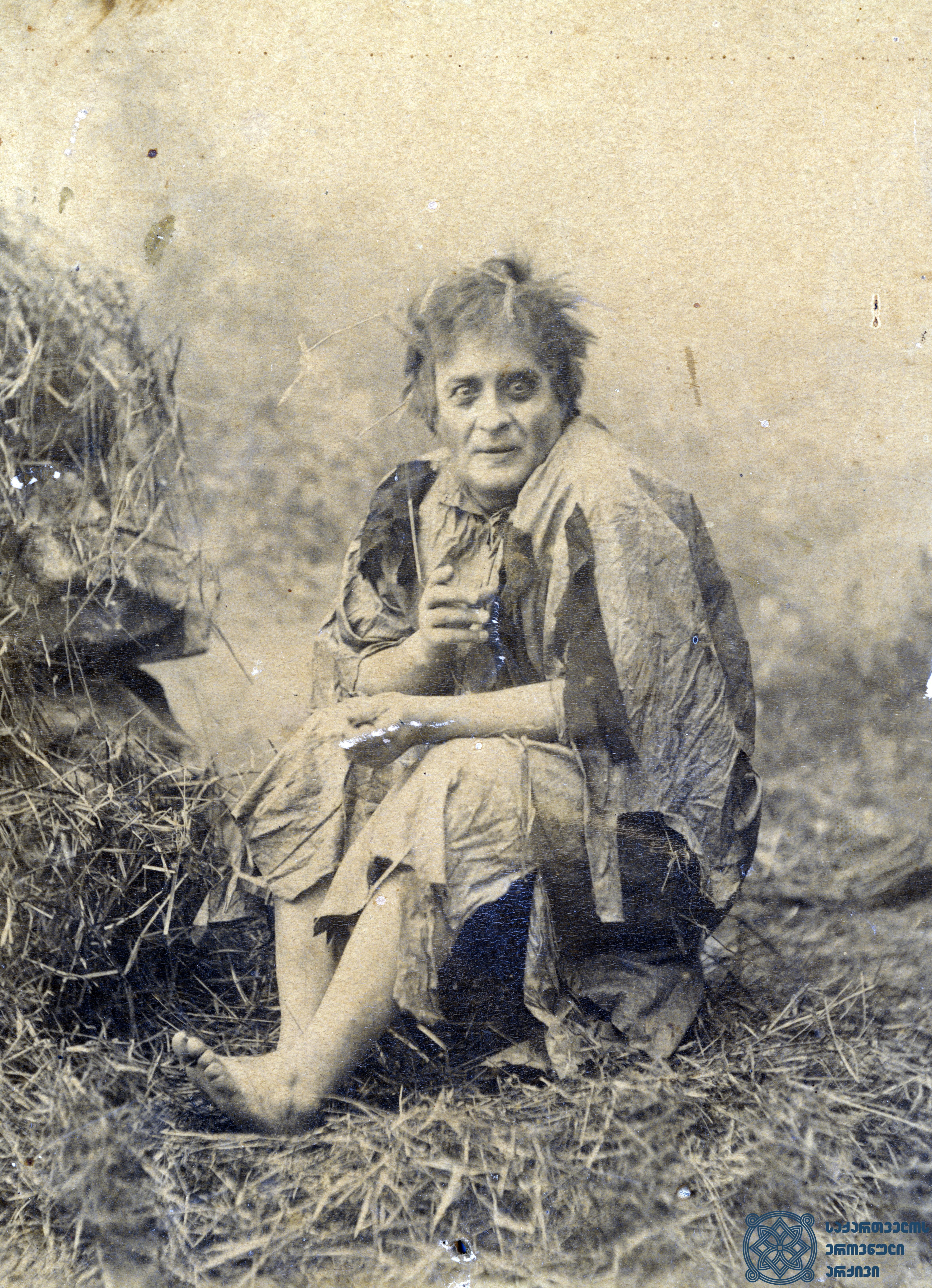 """სპექტაკლი """"მეფე ლირი"""". მსახიობი ლადო მესხიშვილი როლში. <br>  აბრამ ნორდშტეინის ფოტო, 1890-1896 წლები. <br> The performance """"King Lear"""". Actor Lado Meskhishvili in the role. <br> Photo by Abram Nordstein, 1890-1896."""