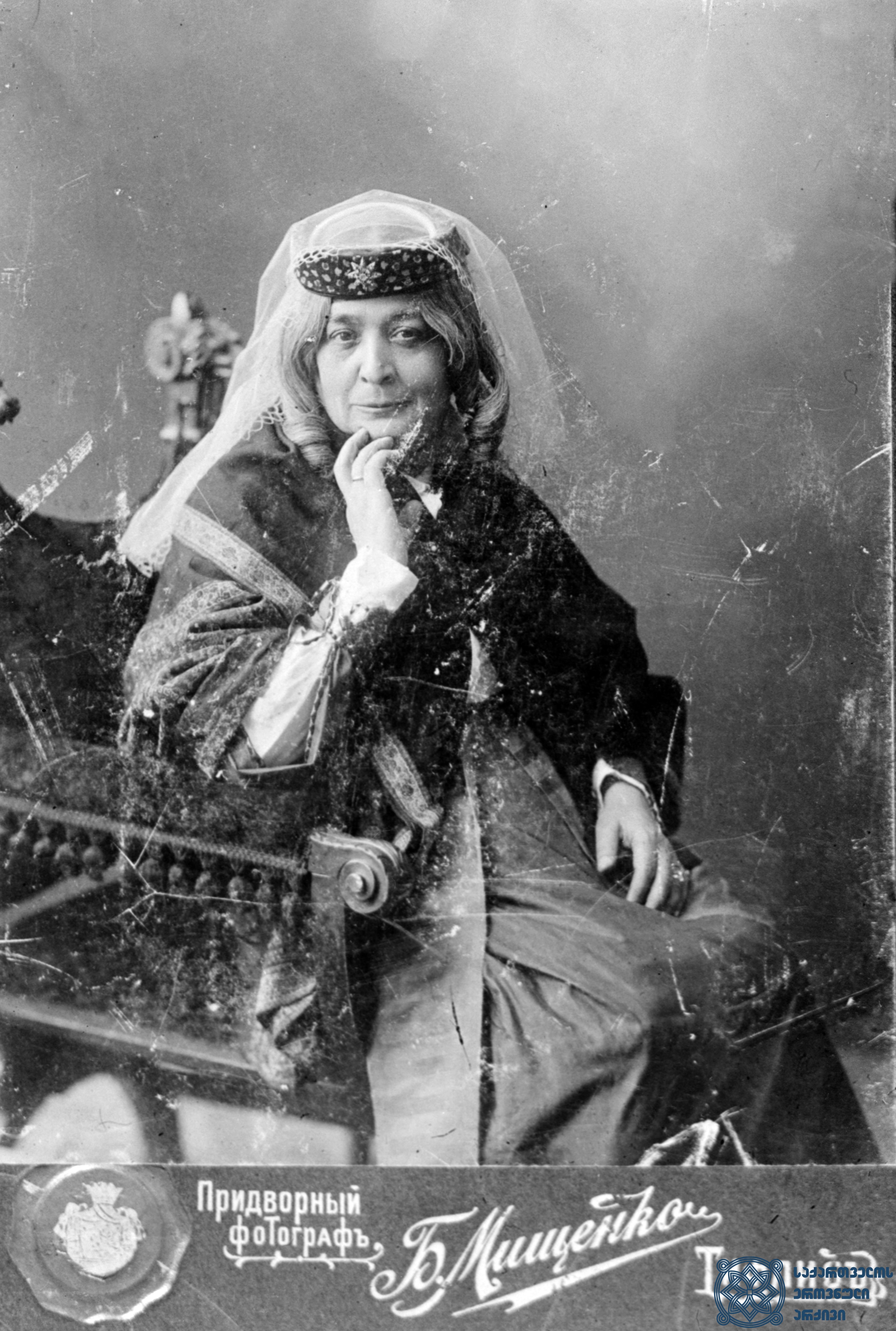 """სპექტაკლი """"ხათაბალა"""". ხანუმა – ნატო გაბუნია.  <br> 1895-1900-იანი წლები.<br> The performance """"Khatabala"""" (""""The Misfortune""""). Nato Gabunia as Khanuma. <br> 1895-1900s."""