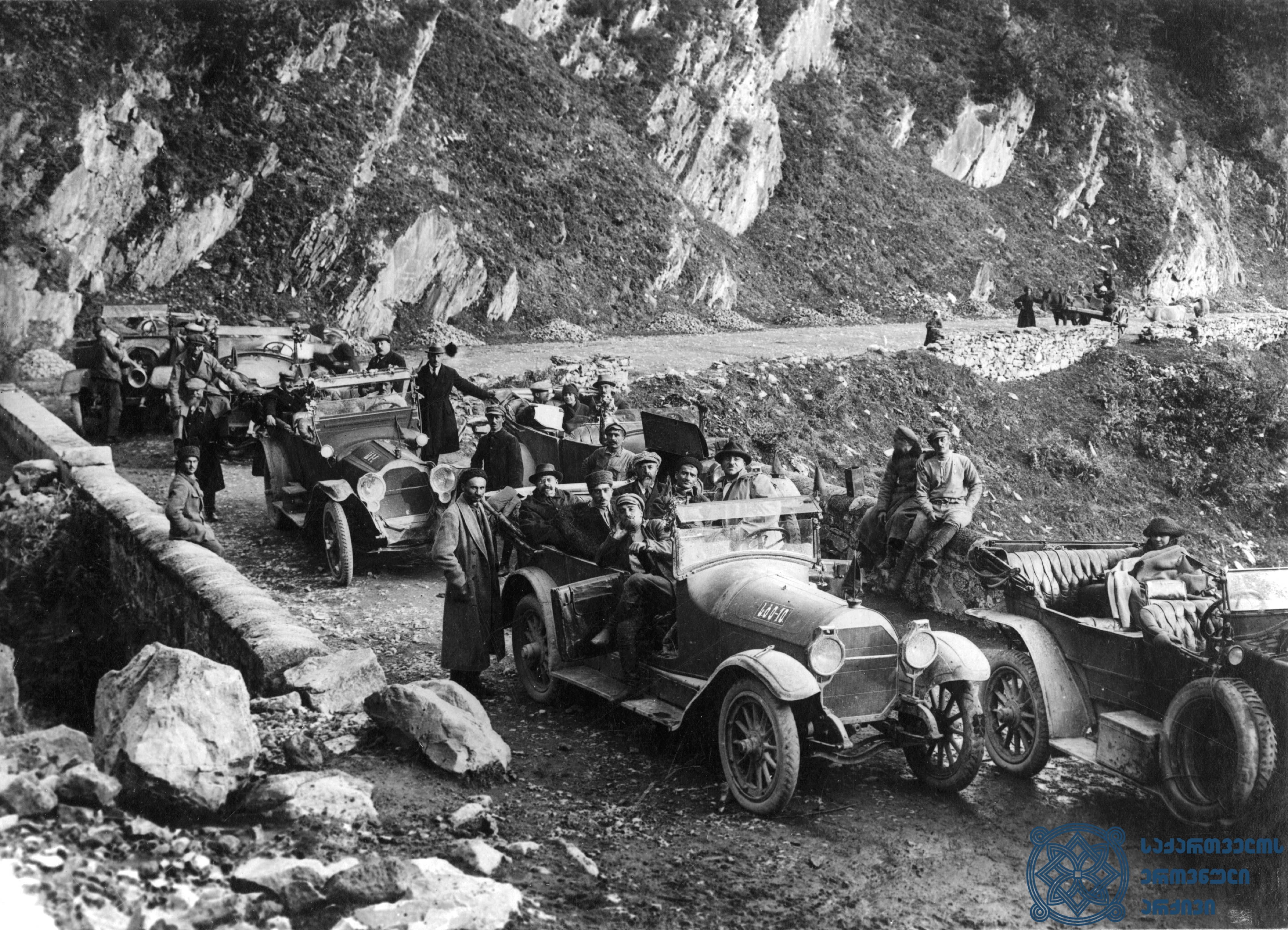 მეორე სოციალისტური ინტერნაციონალის წევრების ვიზიტი ხევში. 1920 წლის სექტემბერი. <br> Visit of the members of the Second Socialist International to Khevi. September 1920.