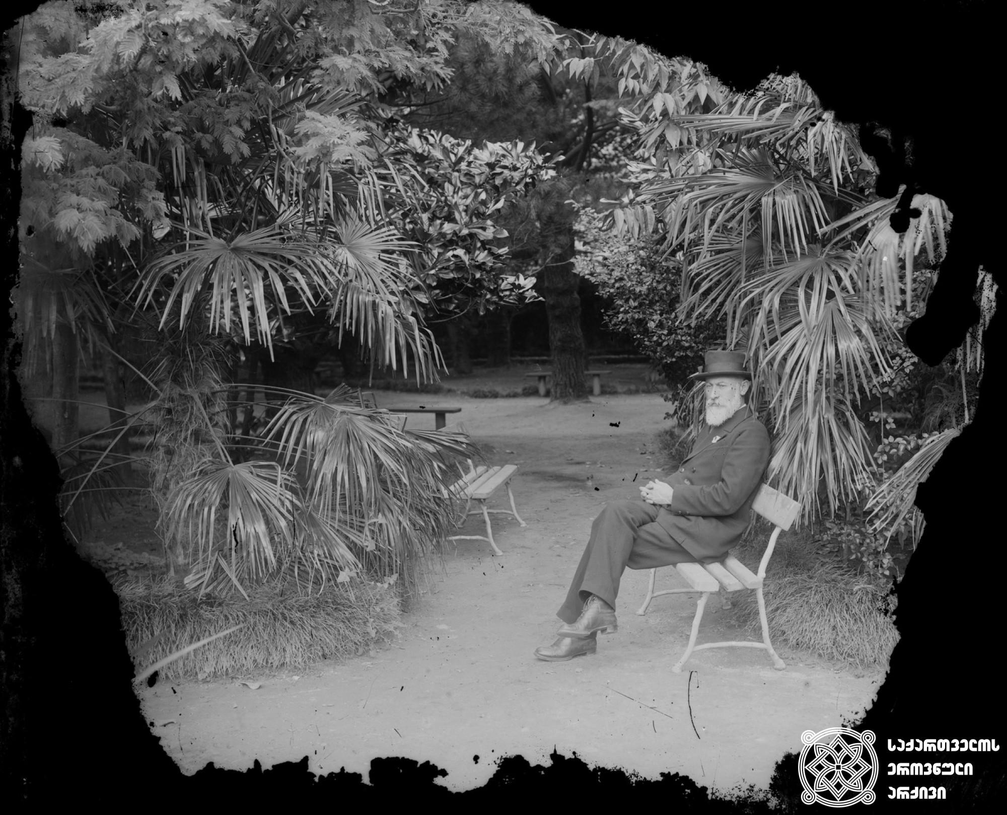 ნოე ჟორდანია (1868-1953), პუბლიცისტი და პოლიტიკური მოღვაწე. <br> მინის ნეგატივი 12X17.5. <br> Noe Jordania (1868-1953), Publicist and political figure. <br> Glass negative 12X17.5.