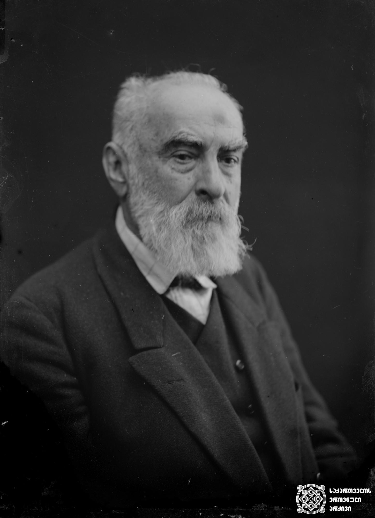 ნიკო ნიკოლაძე (1843-1928) - პუბლიცისტი, პოლიტიკური და საზოგადო მოღვაწე. <br> მინის ნეგატივი 12X16. <br> Niko Nikoladze (1843-1928) - publicist, political and public figure. <br> Glass negative 12X16. <br>