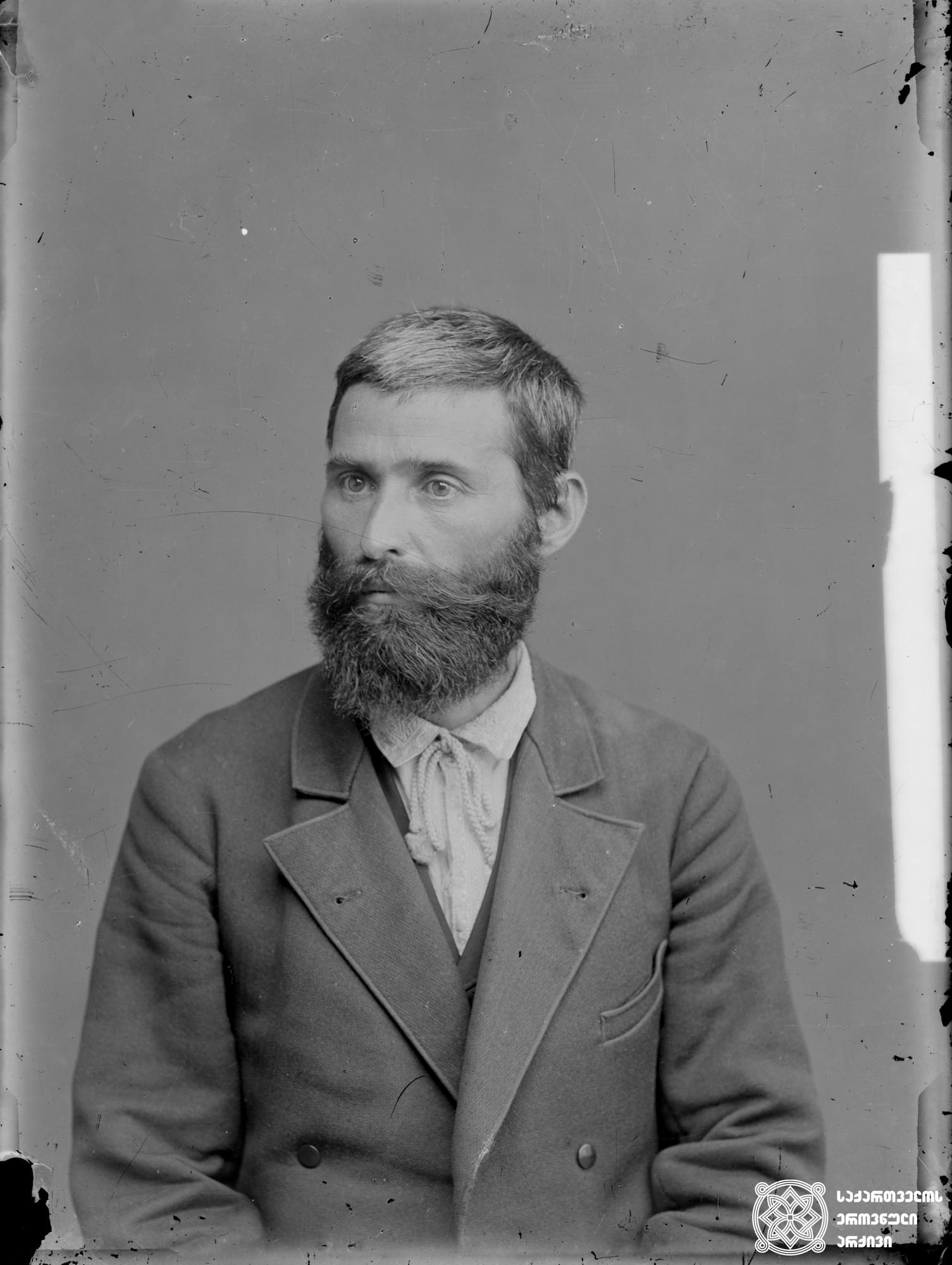 ისიდორე რამიშვილი (1859-1937), სოციალ-დემოკრატი, პუბლიცისტი. <br> მინის ნეგატივი 12X16. <br> Isidore Ramishvili (1859-1937), Social Democrat, publicist. <br> Glass negative 12X16. <br>