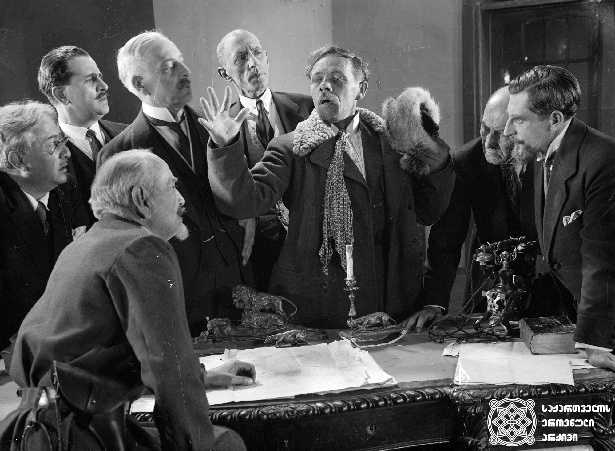 """""""პირველი კორნეტი სტრეშნიოვი"""". 1928. <br>  რეჟისორები: ეფიმ ძიგანი, მიხეილ ჭიაურელი. <br> სცენარის ავტორი: არსენ არავსკი. ოპერატორი: ვიქტორ ენგელსი. მხატვარი: რობერტ ფედორი. <br>  Pirveli Korneti Streshniovi (The First Cornet Streshnev). 1928. <br>  Directors: Efim Dzigan, Mikheil Chiaureli. <br> Screenwriter: Arsen Aravsky. Camera operator: Victor Engels. Production designer: Robert Fedor."""