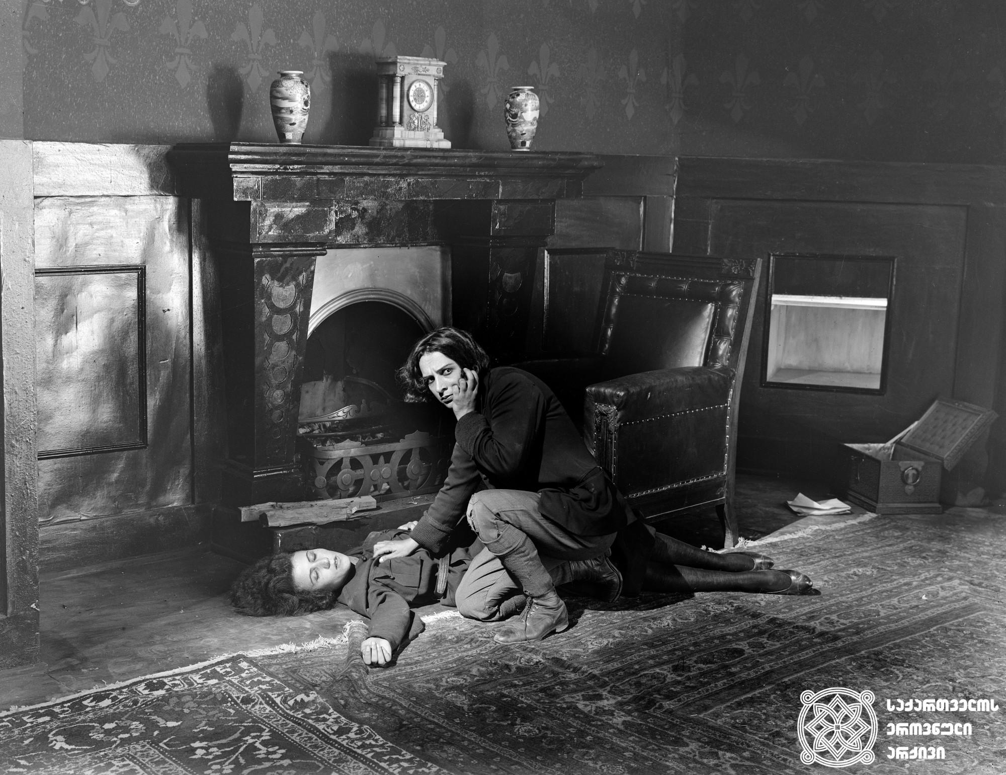 """""""შირვანსკაიას დანაშაული"""". 1926. <br> რეჟისორი: ივანე პერესტიანი. <br> ოპერატორი: ალექსანდრე დიღმელოვი. მხატვრები: სემიონ გუბინ-გუნი, ფიოდორ პუში.  გადაღებულია უსცენაროდ. <br> ფილმი წარმოადგენს  ივანე პერესტიანის """"სავურ-მოგილას"""" (1926 წ.)  გაგრძელებას.  <br>  Shirvanskaias Danashauli (The Crime of Shirvanskaya). 1926. <br>  Director: Ivan Perestiani. <br> Camera operator: Alexander Dighmelov. Production designers: Semion Gubin-Gun, Fiodor Push.   Film is shot without screenplay. <br> The film represents the continuation of Ivan Perestiani's The Savur Grave (1926)."""