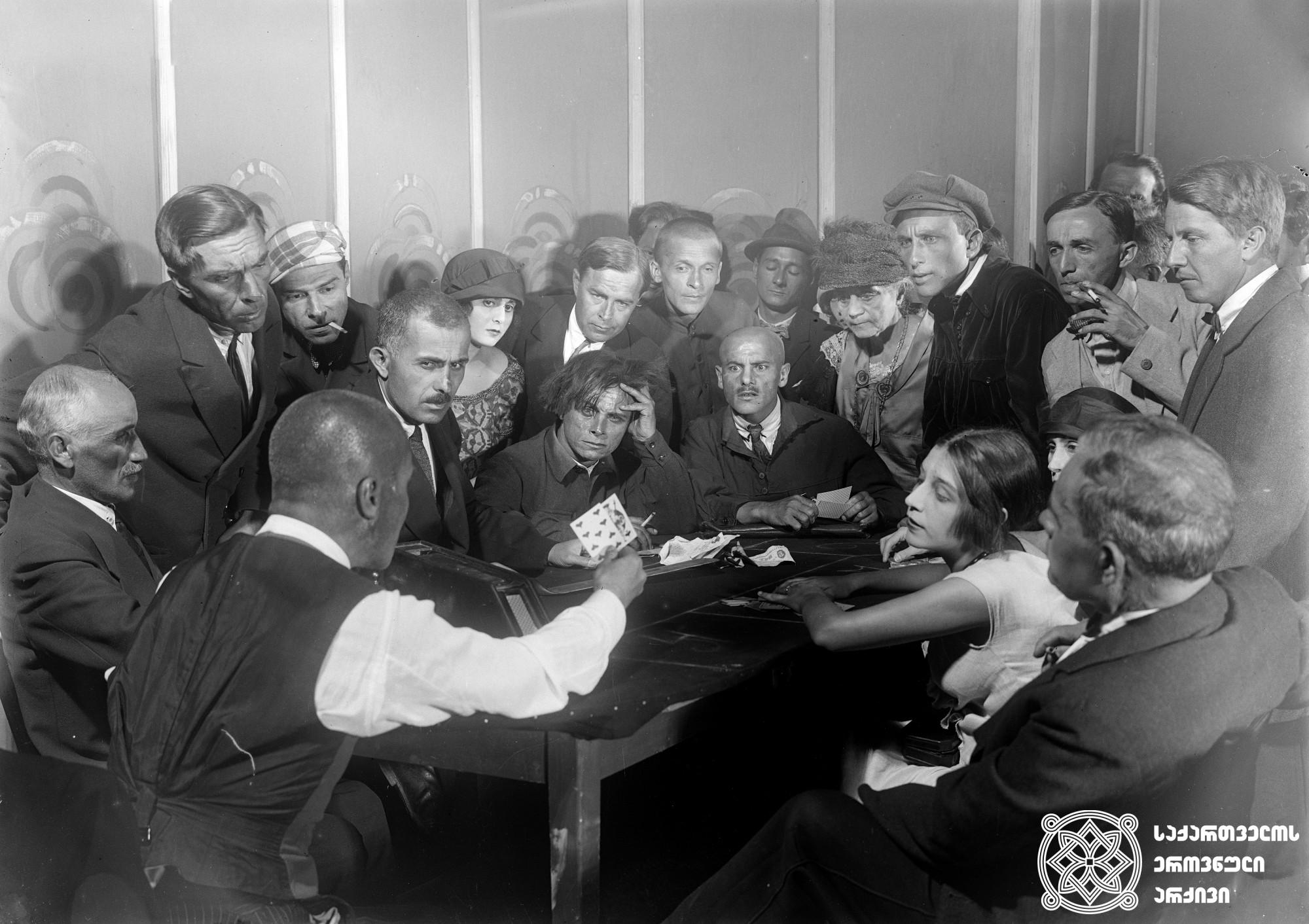 """""""გაფლანგვა"""". 1927. <br> რეჟისორი: ივანე პრესტიანი. <br> სცენარი: ნიკოლოზ შენგელაია, სერგო კლდიაშვილი. ოპერატორი: ალექსანდრე დიღმელოვი. მხატვრები: ვალერიან სიდამონ-ერისთავი, ფიოდორი პუში.  <br>  Gaplangva (Spending). 1927. <br>  Director: Ivan Perestiani. <br> Screenwriters: Nikoloz Shengelaia, Sergo Kldiashvili. Camera operator: Alexander Dighmelov. Production designers: Valerian Sidamon-eristavi, Fiodor Push."""
