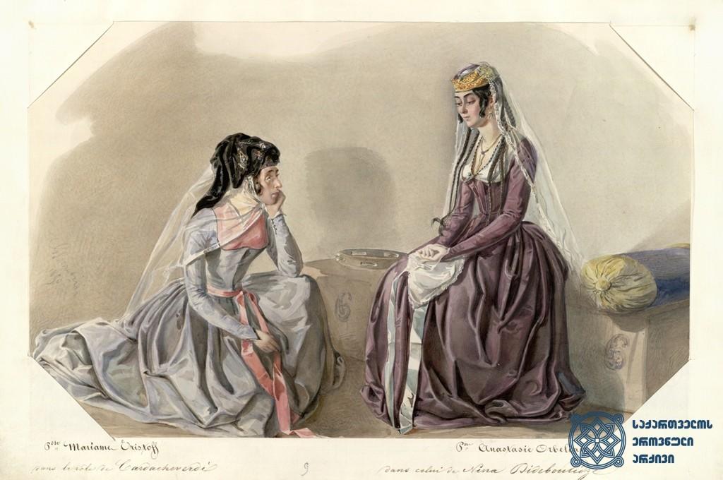 """გიორგი ერისთავის კომედია """"გაყრა"""", ხელნაწერის მინიატურა. <br> მარიამ ერისთავი ყარდაშვერდის როლში და ანასტასია ორბელიანი ნინო დიდებულიძის როლში. მხატვარი გეორგ კორადინი. 1850 წელი. <br> Giorgi Eristavi's comedy """"Gakra"""" (""""Separation""""), a miniature of the manuscript.<br> Mariam Eristavi as Kardashverdi and Anastasia Orbeliani as Nino Didebulidze. Painter George Corradini. 1850."""