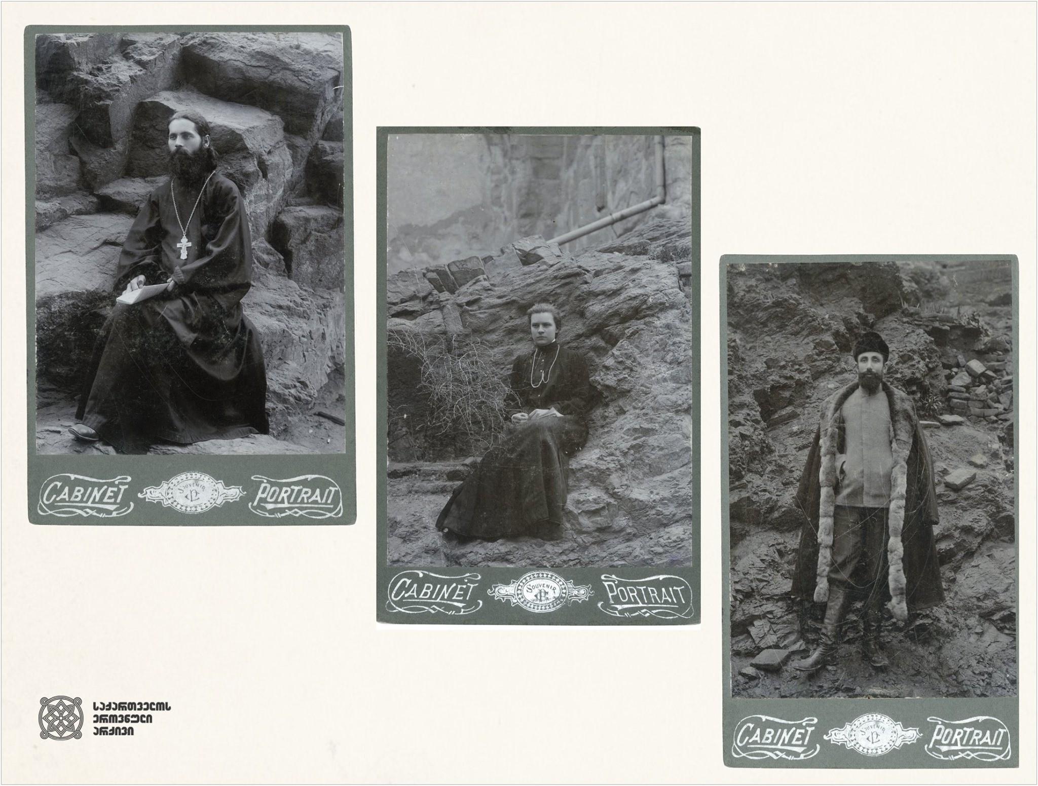 """მეტეხის ციხის პატიმრები  1. მღვდელი იონა ბრიხნიჩევი, 2. მარია გულშიბახა, 3. გ. მარსაგოვი (ფოტო გადაღებულია მეტეხის ციხეში 1908 წელს, ახლავს მემორიალური მინაწერი: """"ვუძღვნი ჩემს დაუვიწყარ ძველს მეგობარს, არაქელ გრიგორის ძეს ოქუაშვილს"""").  <br> Prisoners of Metekhi Prison  1. Priest Jonah Briknichev, 2. Maria Gulshibakha, 3. G. Marsagov (photo was taken in the Metekhi prison in 1908, with a memorial inscription: """"I dedicate it to my unforgettable old friend, Arakel Okuashvili, son of Gregory"""")."""