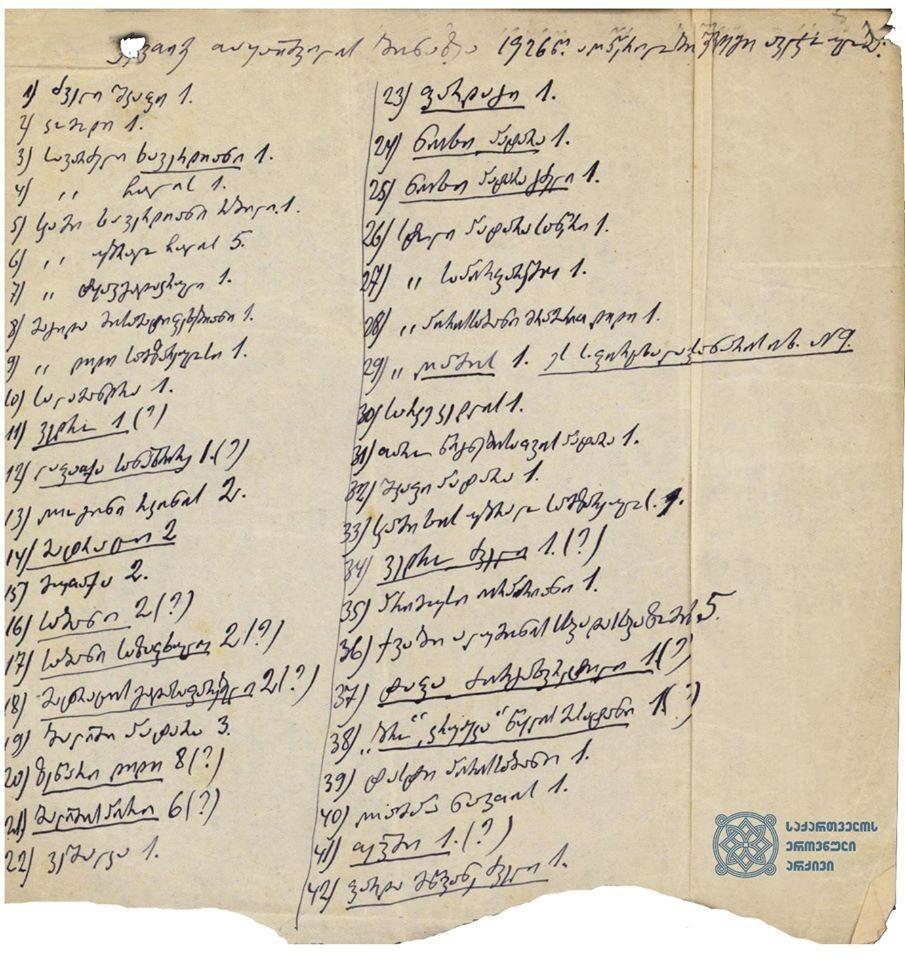 ექვთიმე თაყაიშვილის ქონების აღწერა პარიზი, ლევილი, 1926 წელი  <br> Inventory of property of Ekvtime Takaishvili Paris, Leuville 1926