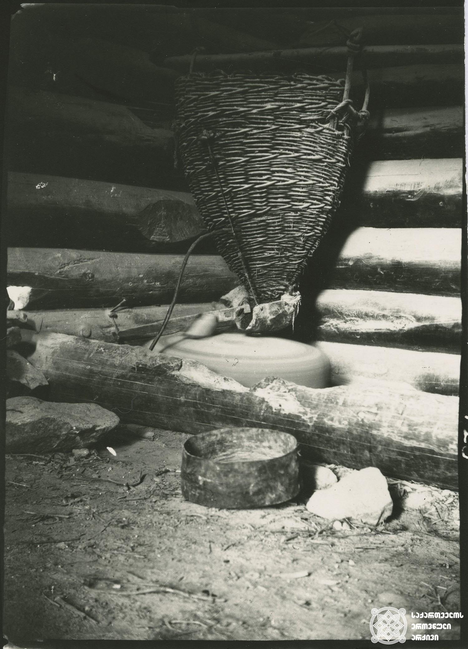 ქვის წისქვილი. მესტია. <br> Stone mill. Mestia. <br> 1890.