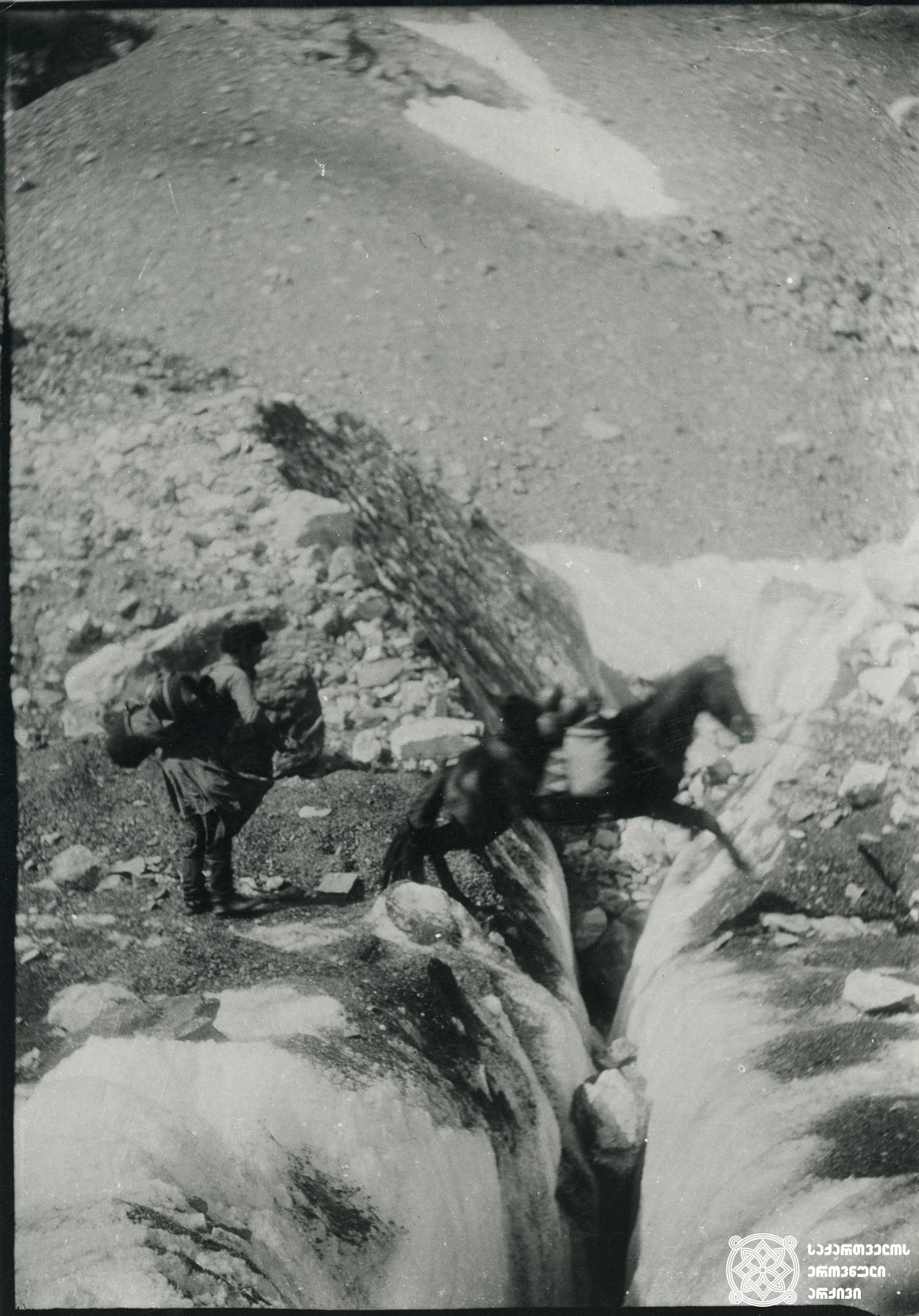 ცხენი, რომელიც მყინვარ ტვიბერის ნაპრალის თავზე ხტება. <br> Horse jumping over the cleft of glacier Tviberi.  <br> 1896.